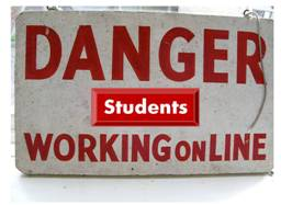 Danger Students Working Online