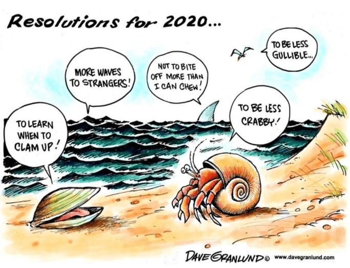 Cartoon by Dave Garlund on new year resolutions